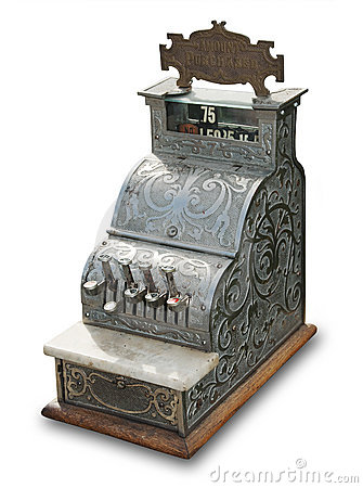 Antique cash register, isolated