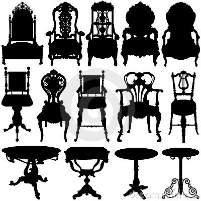 Free Antique Chair And Table Vector Stock Photography - 4571532