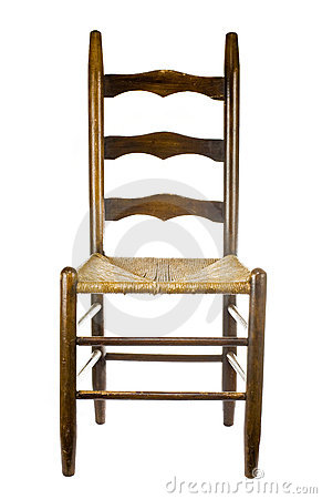 Antique chair isolated on white back