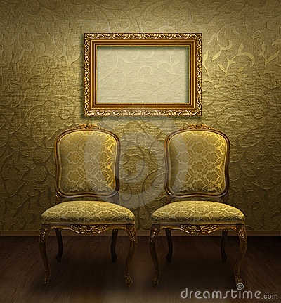 Antique chairs in golden room