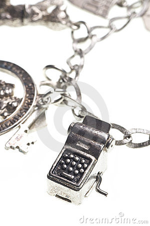 Antique charm bracelet with typewriter