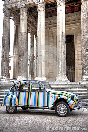 Antique Citroen at Temple Augustus
