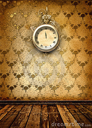 Antique clock face with lace on the wall