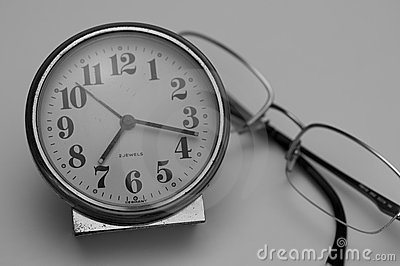 Antique Clock and Glasses