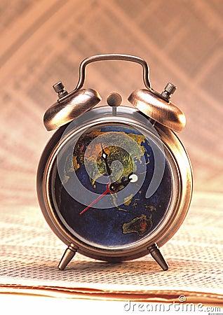 Antique clock on stock index