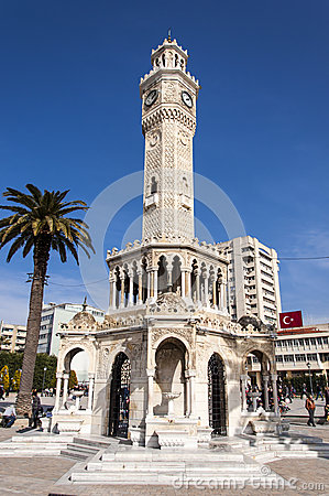 Antique clock tower from Izmir Editorial Stock Photo