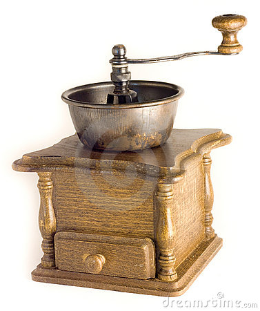 Antique coffee mill on the white background