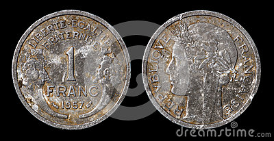 Antique coin of 1 franc