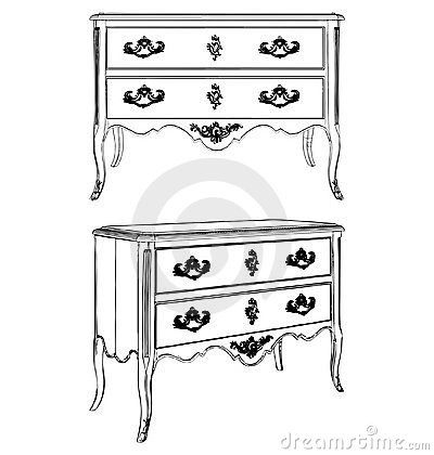 Antique Commode Vector 07 Vector Illustration