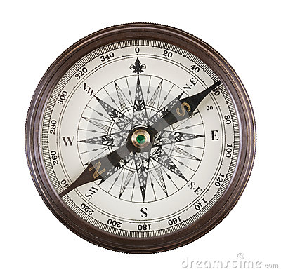 Antique compass in a brass case