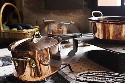 Antique copper cooking pans