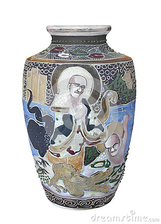 Free Antique Decorated Chinese Vase Isolated. Royalty Free Stock Images - 29579609