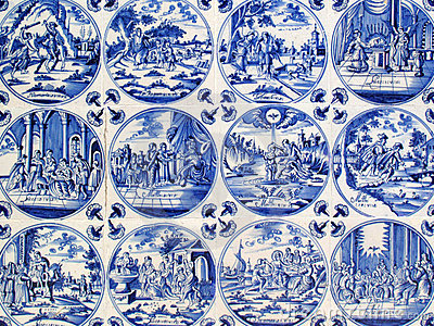 Antique Delft wall tiles