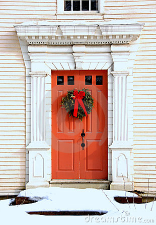 Antique Door at Christmas