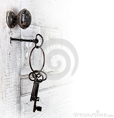 Antique door with keys in the lock