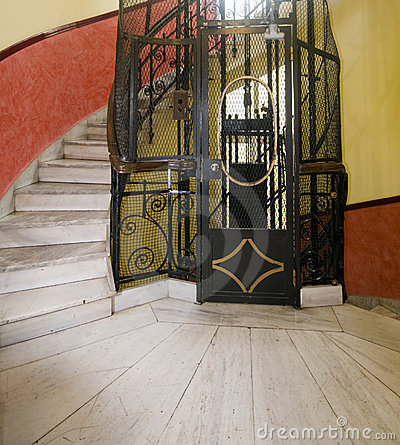 Antique Elevator Hotel Athens Greece Stock Image - Image: 9832401