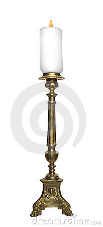 Antique fancy brass candlestick isolated.