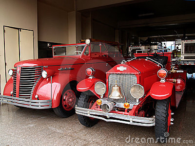 Antique firefighters truck