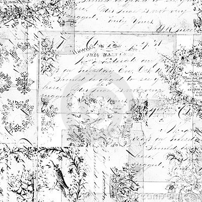 Antique floral montage or collage background
