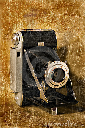 Antique Folding Camera with Grunge Texture