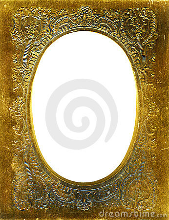 Antique frame with gold mat