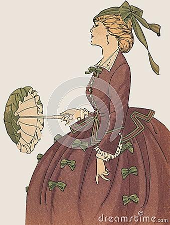 Antique French Fashion Plate La Mode Feminine