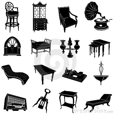 Antique furniture and objects