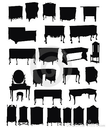 Free Antique Furniture Silhouettes Stock Image - 13207601
