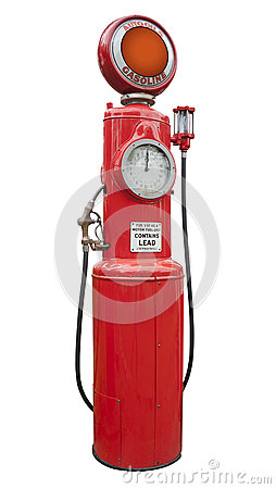 Antique gas pump, isolated