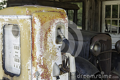 Antique Gasoline Pump and Truck