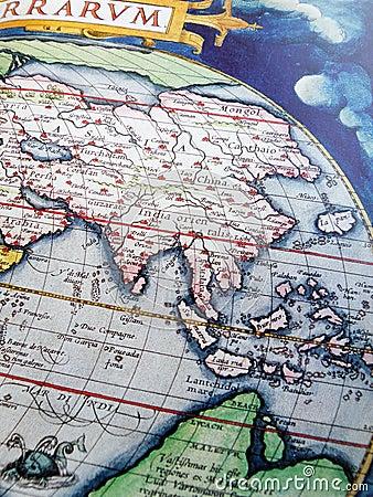 Antique globe, Asia