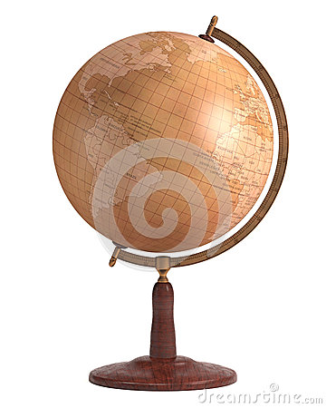 Antique Globe Over White