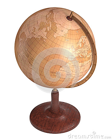 Antique Globe Over White