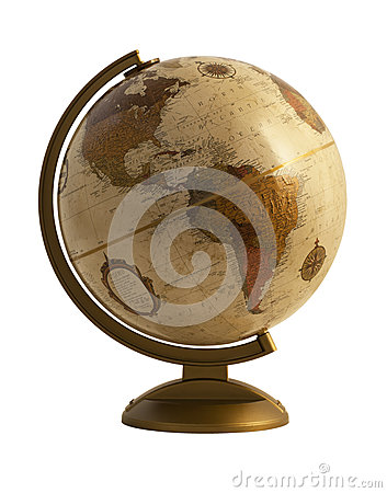 Antique globe on white