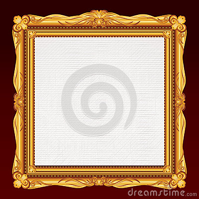 Antique Gold Frame with Blank Canvas. Vector