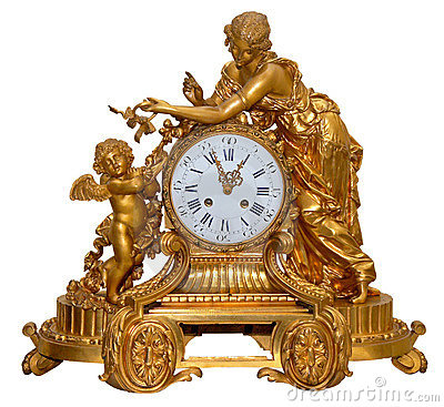 Antique golden table clocks