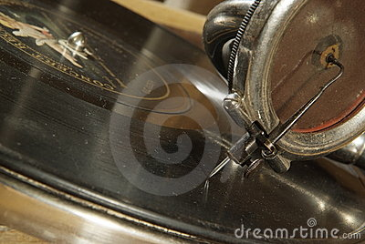 antique gramophone head and needle