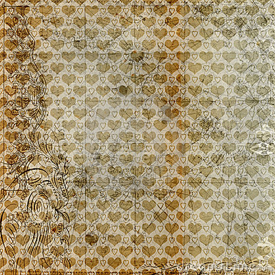 Antique grungy hearts brown background design