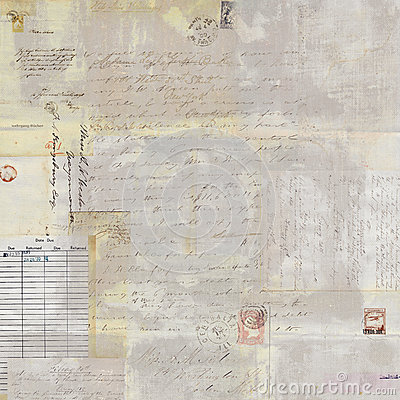 Free Antique Grungy Postage Collage And Script Text Background Royalty Free Stock Image - 59208346