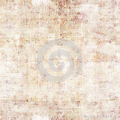 antique grungy script and floral background stock photo