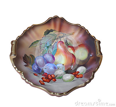 Antique hand painted platter isolated.