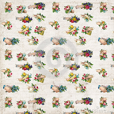 Free Antique Hands With Flowers Victorian Scrap Repeat Pattern Wallpaper Royalty Free Stock Photos - 59208338
