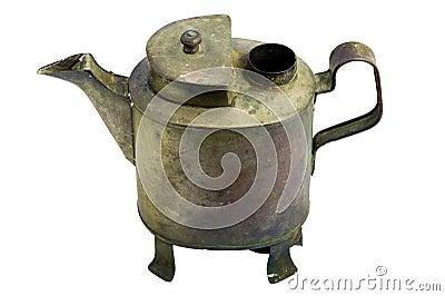 Antique iron pot. with white background.