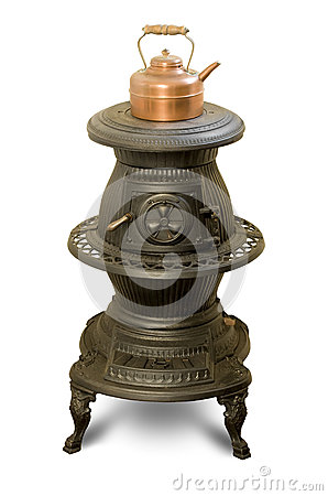 Free Antique Iron Wood-burning Stove With Copper Kettle Royalty Free Stock Photo - 30539845