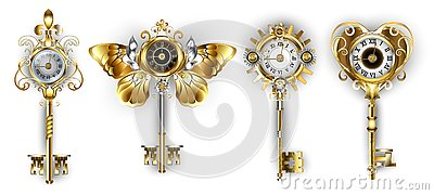 Antique keys on white background with dials Vector Illustration