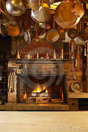Free Antique Kitchen With Fireplace Stock Image - 16807231