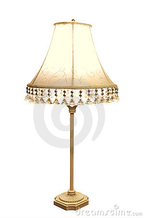 Antique Lamp with Embroidered Shade
