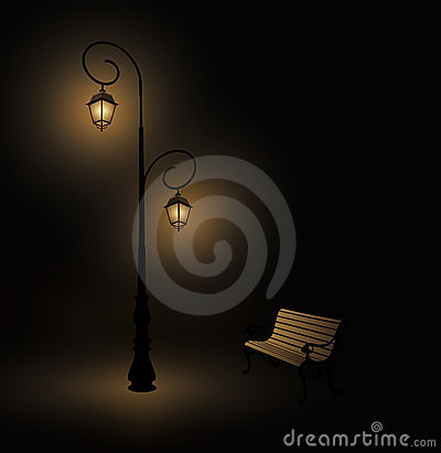 Antique lamp post and bench