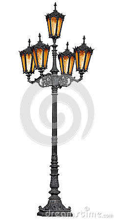 Free Antique Lamp Post On White Stock Image - 25234791
