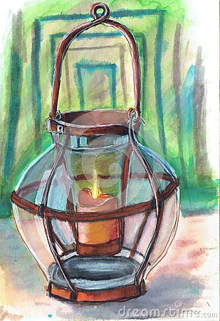 Antique lantern with a candle. Work done with a marker.Старый подсвечник. Stock Photo